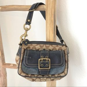 Vintage Coach Purse with Blue Buckle Front Pocket
